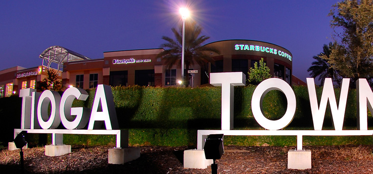 Tioga Town Center entrance sign in Gainesville, FL